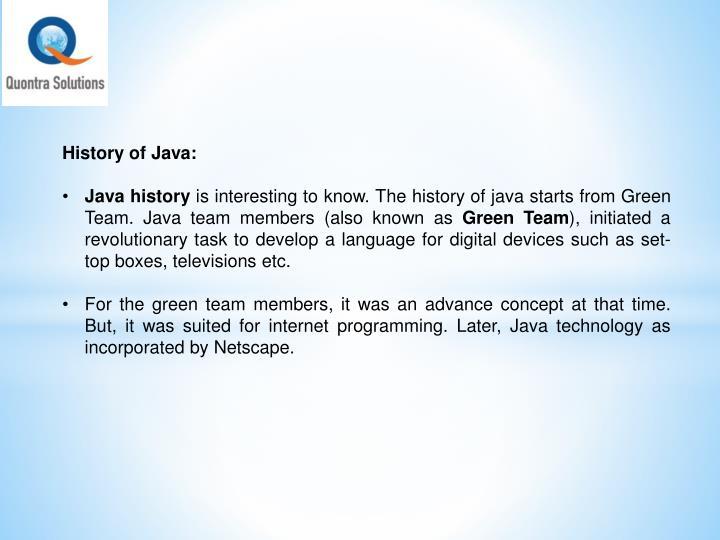 History of Java: