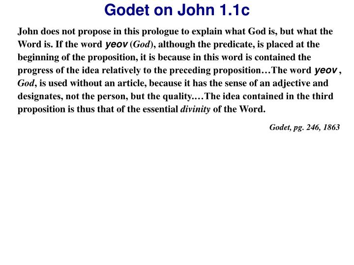 John does not propose in this prologue to explain what God is, but what the Word is. If the word