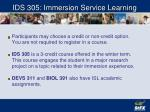 ids 305 immersion service learning