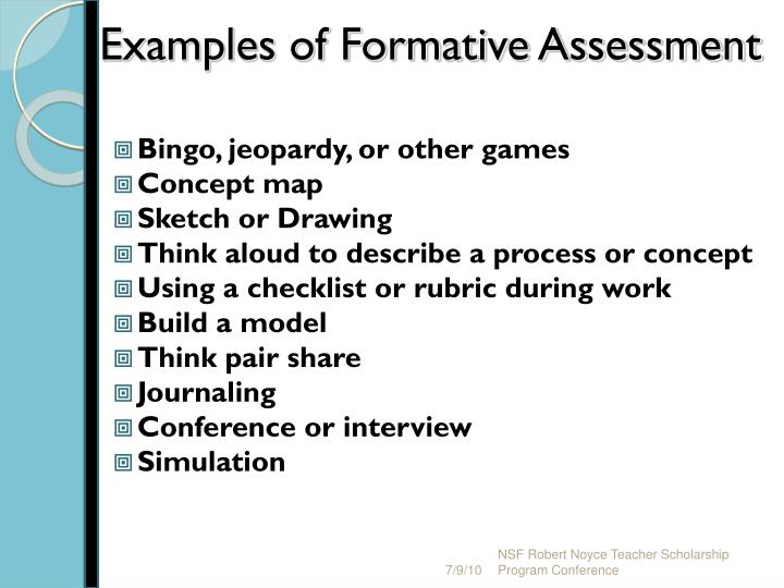 Examples of Formative Assessment