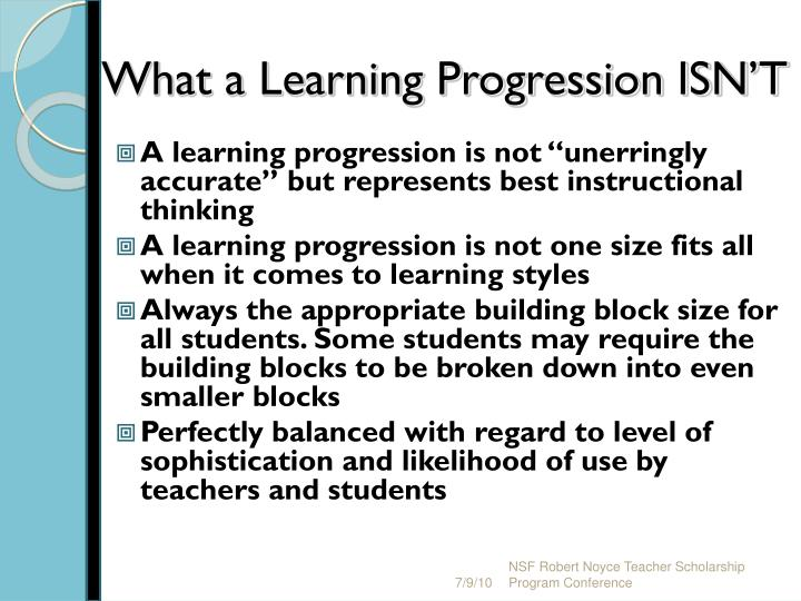 What a Learning Progression ISN'T