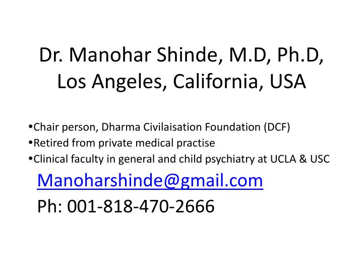 dr manohar shinde m d ph d los angeles california usa