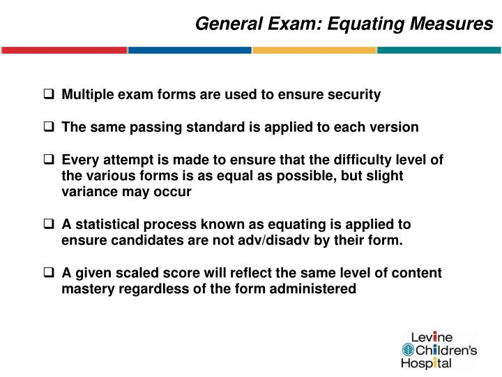 General Exam: Equating Measures