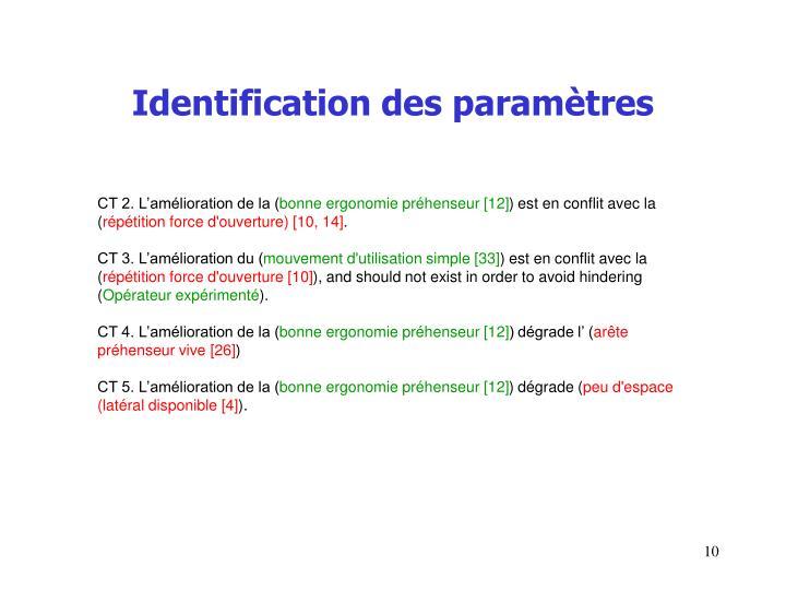 Identification des paramètres