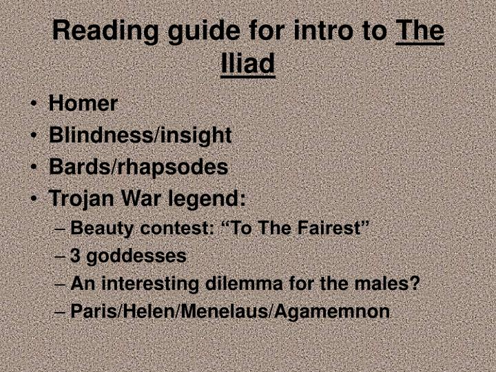 reading guide for intro to the iliad