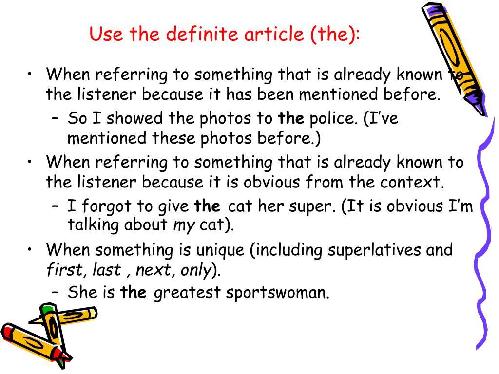 PPT - Definite and zero articles (the, no article