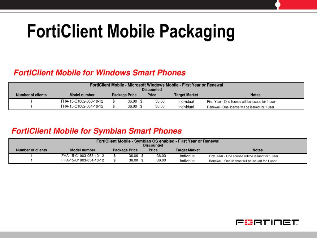 PPT - FortiClient Mobile Solutions for Mobile Carriers & Smart Phone
