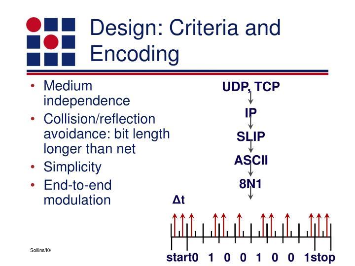 Design criteria and encoding