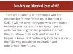 f ounders and historical icons of oae