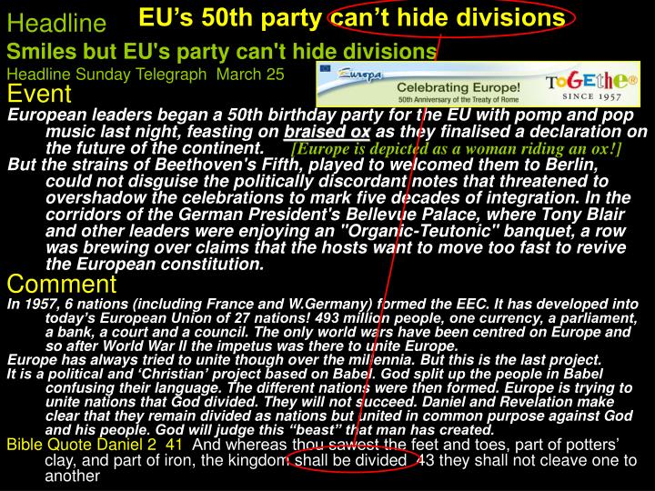 EU's 50th party can't hide divisions