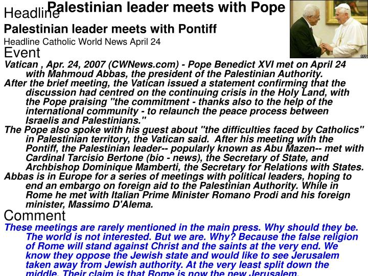Palestinian leader meets with Pope