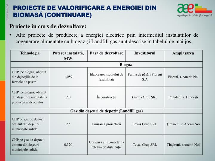 Proiecte de valorificare a energiei din biomasă (continuare)
