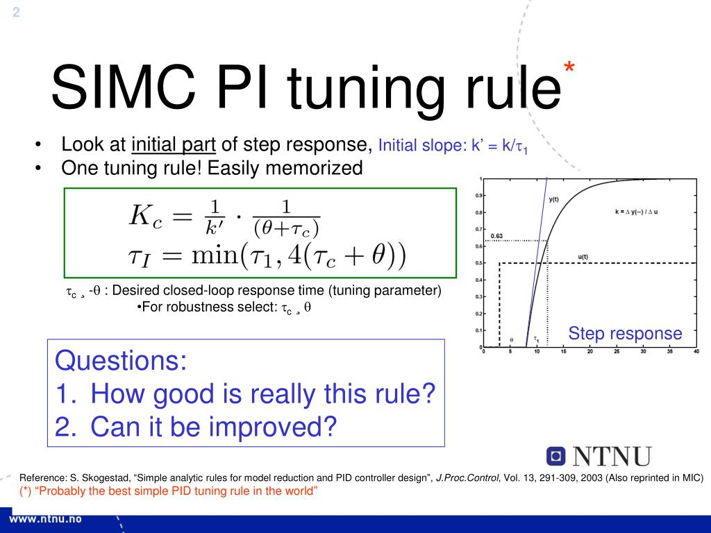 PPT - The improved SIMC method for PI controller tuning PowerPoint