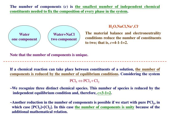 The number of components (