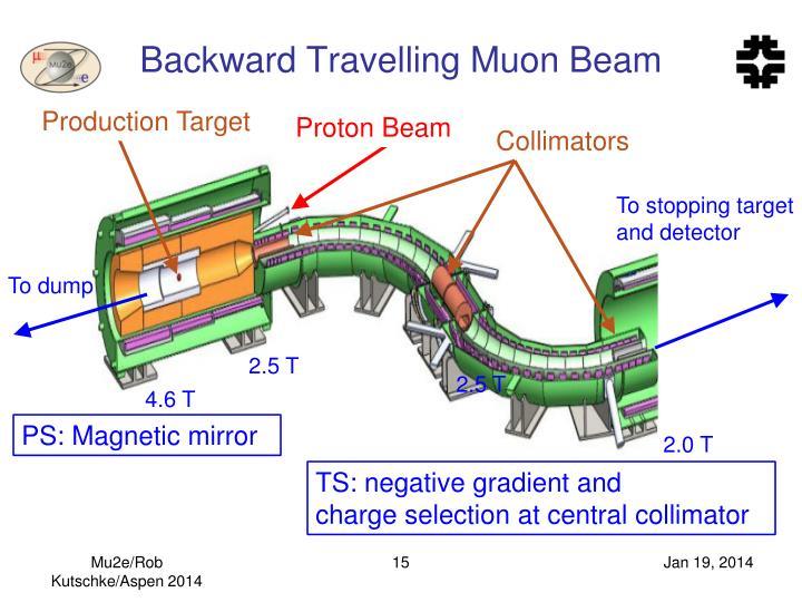 Backward Travelling Muon Beam
