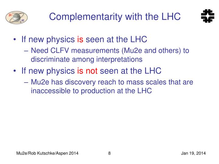 Complementarity with the LHC