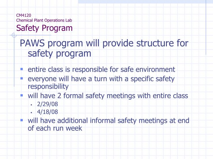PPT - CM4120 Chemical Plant Operations Lab Safety Program PowerPoint