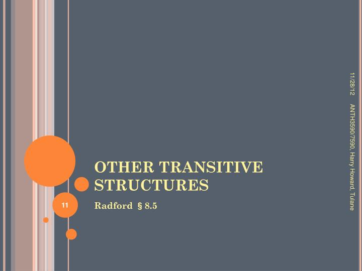 OTHER TRANSITIVE STRUCTURES