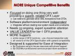 more unique competitive benefits