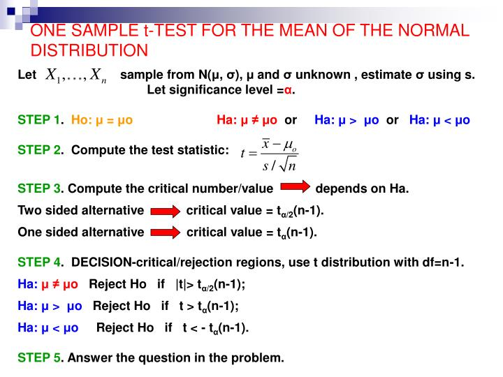 one sample t test for the mean of the normal distribution n.