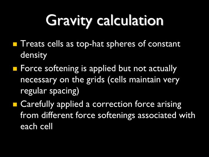 Gravity calculation