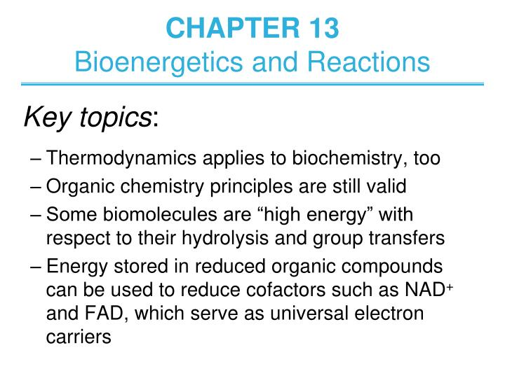 chapter 13 bioenergetics and reactions n.