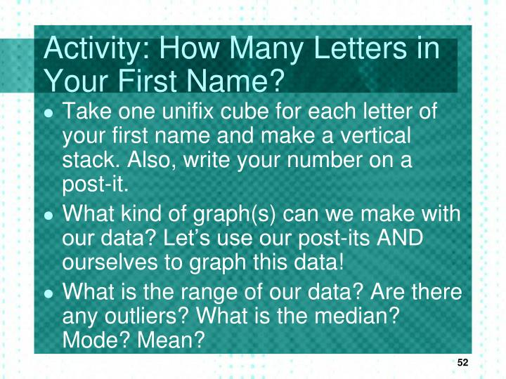 Activity: How Many Letters in Your First Name?