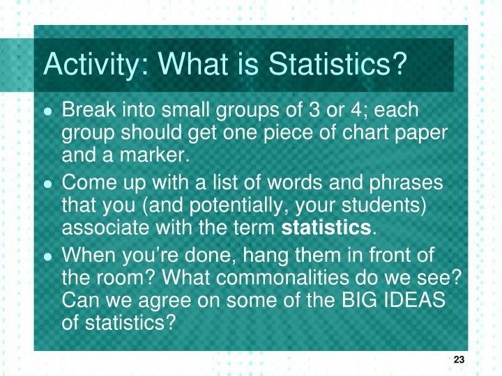Activity: What is Statistics?