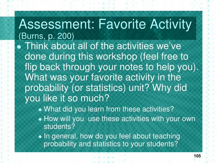 Assessment: Favorite Activity