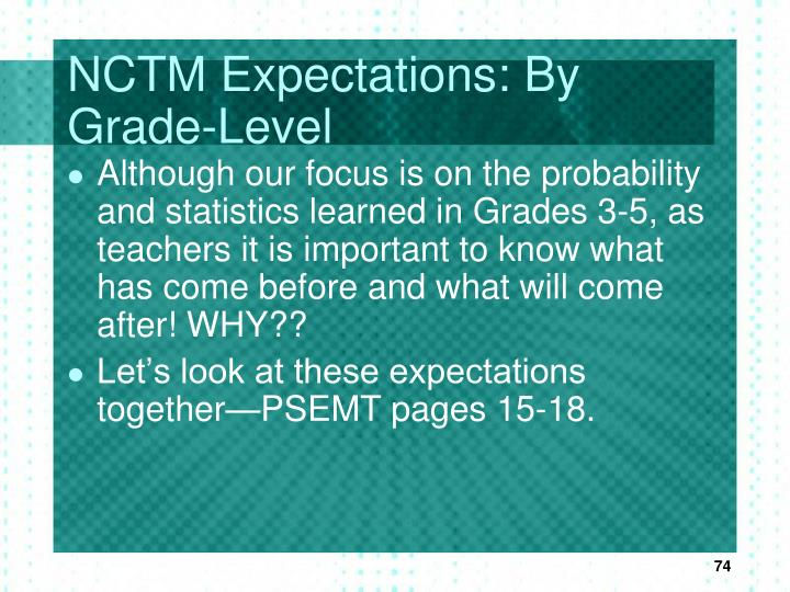 NCTM Expectations: By Grade-Level