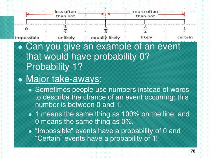 Can you give an example of an event that would have probability 0? Probability 1?