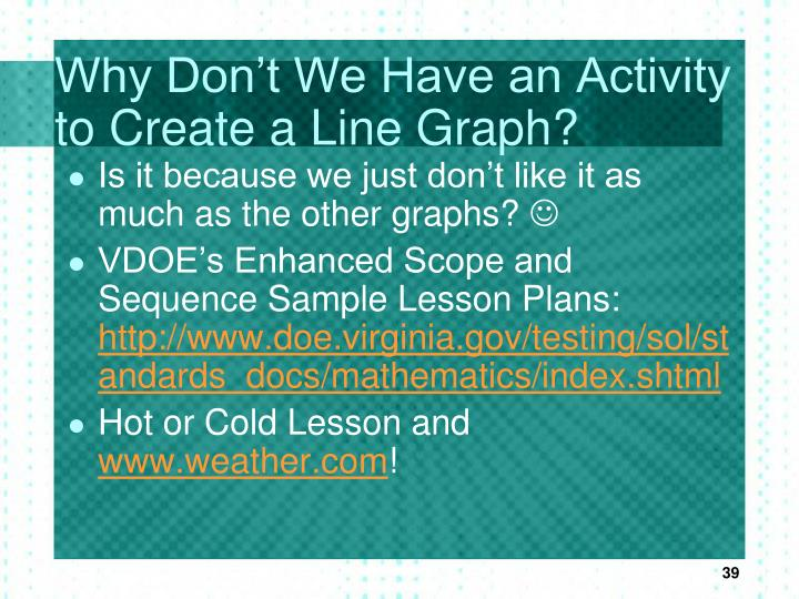 Why Don't We Have an Activity to Create a Line Graph?