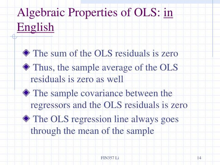 Algebraic Properties of OLS: