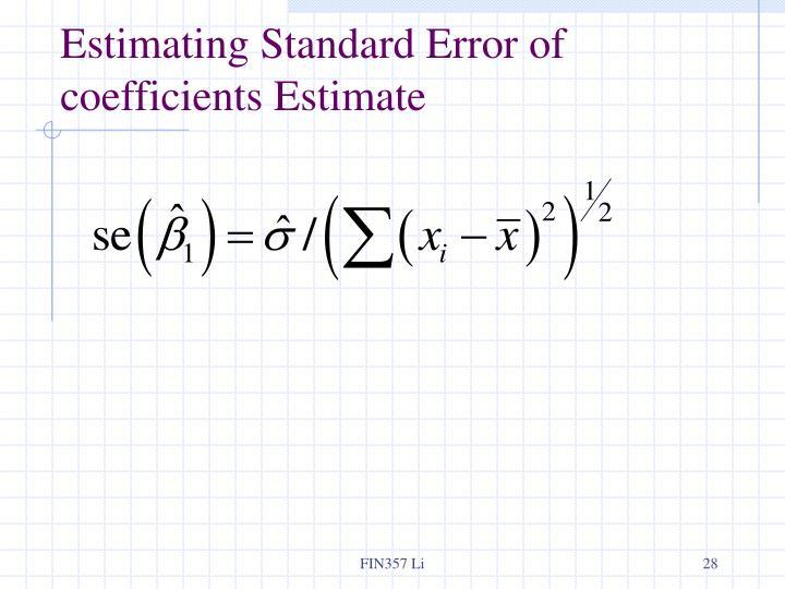 Estimating Standard Error of coefficients Estimate
