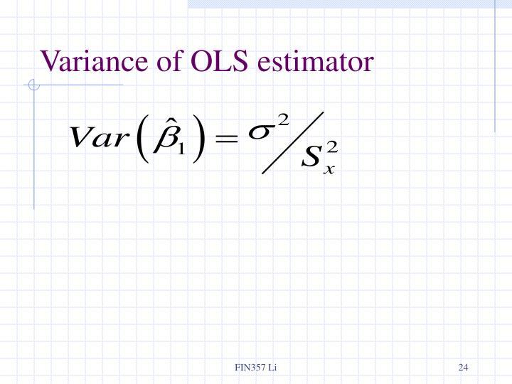 Variance of OLS estimator