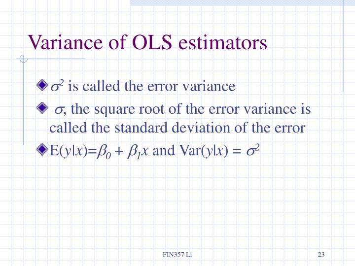 Variance of OLS estimators