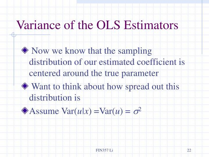 Variance of the OLS Estimators