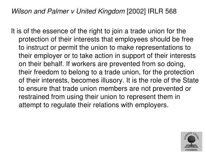 Wilson and Palmer v United Kingdom