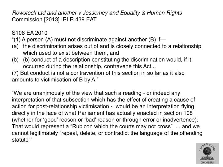 Rowstock Ltd and another v Jessemey and Equality & Human Rights
