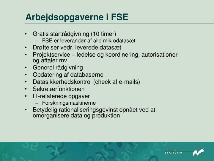 Arbejdsopgaverne i FSE
