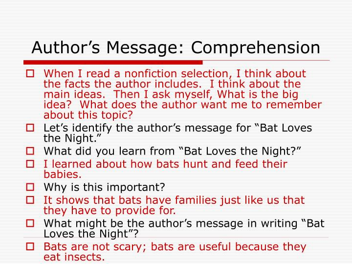 Author's Message: Comprehension