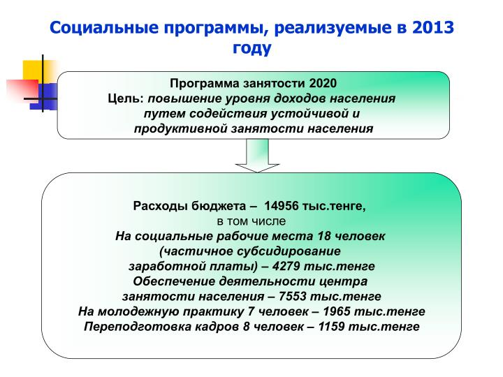 Социальные программы, реализуемые в 2013 году