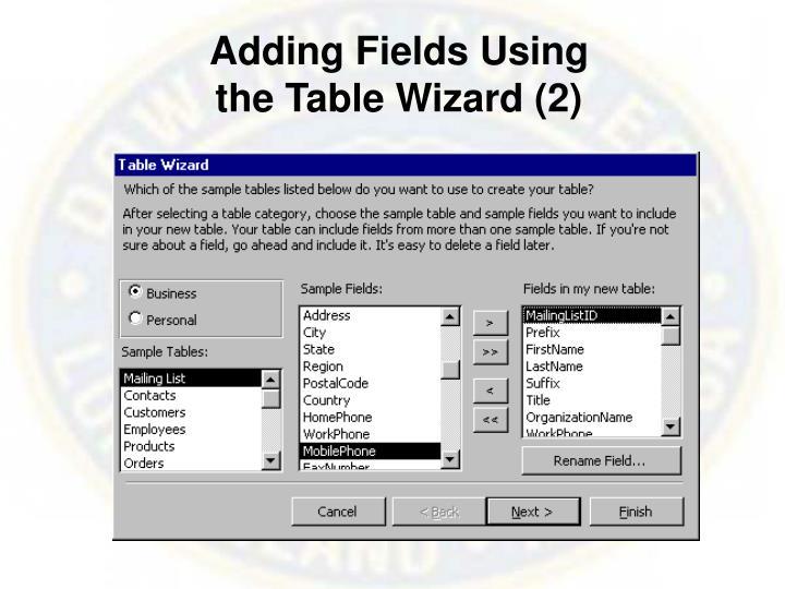 Adding Fields Using