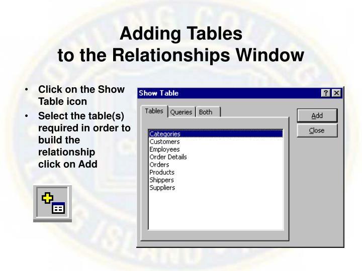 Adding Tables