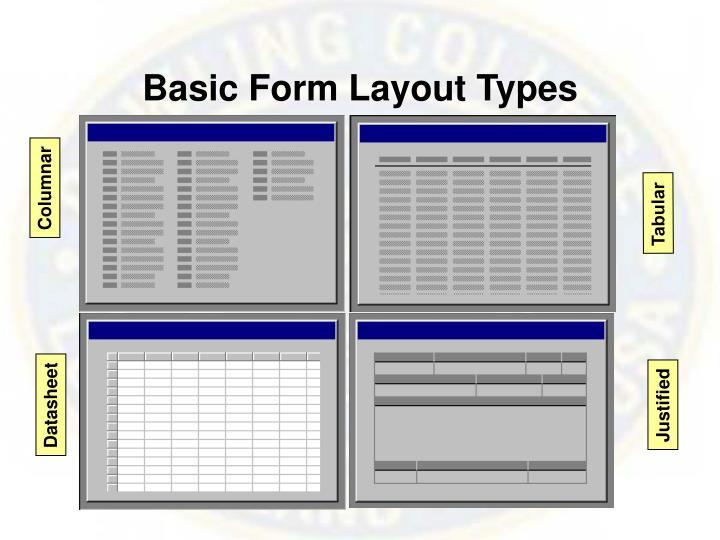 Basic Form Layout Types