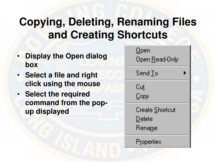 Copying, Deleting, Renaming Files