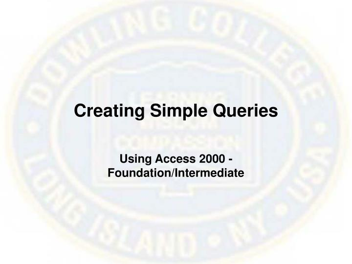 Creating Simple Queries
