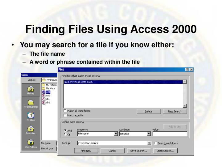 Finding Files Using Access 2000