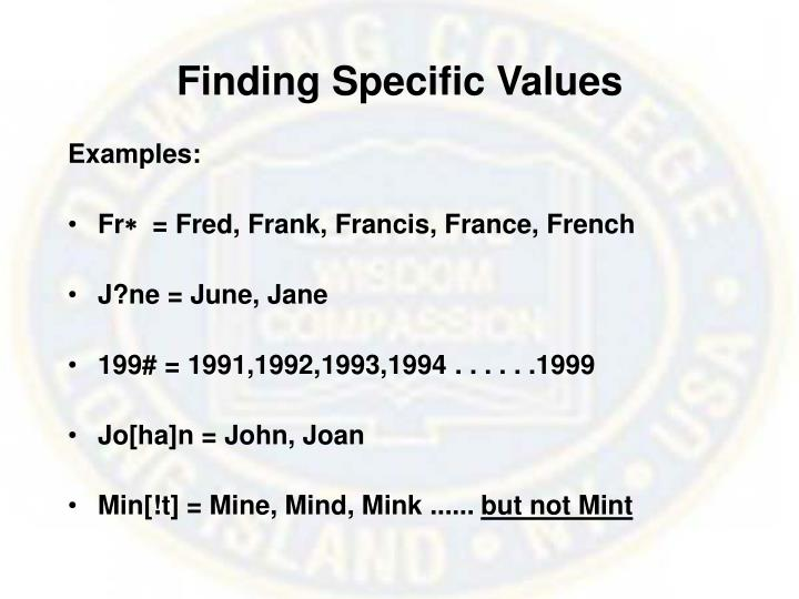 Finding Specific Values