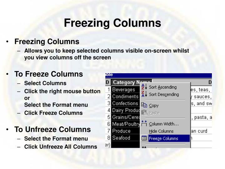 Freezing Columns